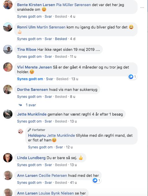 Skærmbillede af facebook kommentare til rygestop